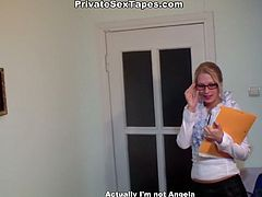 Kinky secretary in glasses is tired after a paper work. Horny chick with nice butt and sweet tits takes off skirt and blouse. She wears only black stockings and plays with sweet tits. It's high time to ride her boyfriend's cock for multiple orgasm.