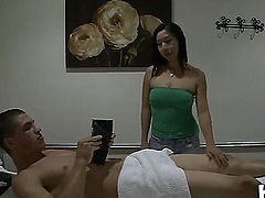 Tall young stud Bruce Venture with good looking body and long meaty sausage gets massaged and sucked good good by skilful long haired asian Celia with firm medium hooters.