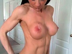 Bodybuilder nymph has bare inside A undressed