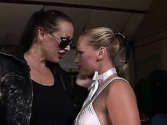 Blonde Kathia Nobili and Lory stretch each others wet hole with enthusiasm