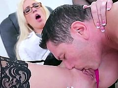 John Strong is spending unforgettable time with sinful blonde mature hottie Victoria White. He licks pussy of the cutie before drilling it and mouth of the gal so well.