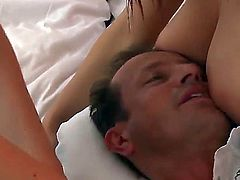 Brunette doll Daisy Lee with big jugs and clean pussy lets George Uhl drill her sweet mouth