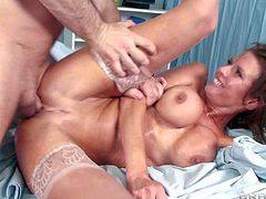 Veronica Avluv is a lady doctor with perfect huge boobs. MILF in stockings gives unforgettable titjob to lucky visitor and then he bangs her pink wet fuck hole like theres no tomorrow.