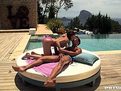 Hot busty bitch Irina Bruni is having fun with some dude on the poolside. She sucks his curved cock and then they bang in the reverse cowgirl and other positions.