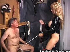Blonde slut with big tits dominates hunk and makes him her slave during femdom action