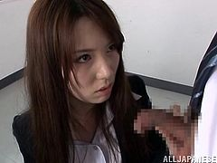 Gorgeous Japanese teacher Sophia Takigawa is having a good time with some guy in a classroom. She kneels in front of the man and sucks his prick shyly.