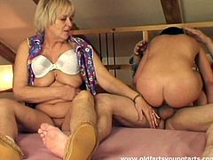 Kinky brunette is a terrific dick rider. This booty chick desires to have hot threesome with too spoiled and voracious old couple. She and fat ugly blond oldie suck the gaffer's cock for cum right on the wide bed.