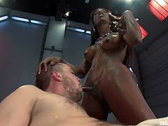 Captain welcomes this shemale on board and invites him to his private room, when she gives him a nice head. Then he sucks her cock too and enjoys its size in his ass.