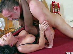Lezley Zen pays a visit to her boss to make him happy. Big boobed milf with sexy firm round ass gets her fuck hole filled with his throbbing cock. She gets her trimmed bush fucked silly.