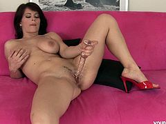 Well, dude, if you wanna jizz at once this Young Busty sex clip is surely what you need. Zealous appetizing brunette wears only red hells. Too voracious nympho thirsts for orgasm. Kinky chick with droopy boobs and rounded ass spreads legs wide and polishes her wet pussy with a sex toy passionately for delight.
