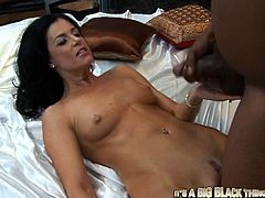 Horny brunette milf India Summer gives a perfect blowjob to some lewd black stud. Then she stands on all fours and gets her throbbing snatch drilled hard doggy style.