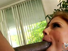 Kinky pale chick in fishnet stockings is a great pro in giving a solid blowjob for sperm to a fat black dick. Cum addicted slender chick bends over, smacks her smooth ass up and gets her wet pussy polished doggy tough by black horny stud.