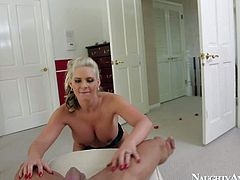 Playful blonde and busty babe Phoenix Marie enjoys in getting her shaved slit pounded hard after playing with Marco Banderas hard rod on her knees in a pov video