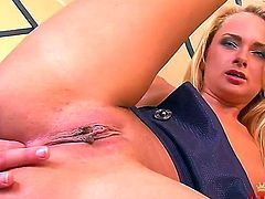 Blonde Ivana Sugar strips down to her bare skin to masturbate naked