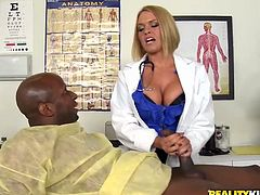 Three slutty blondies chekc up a black dude in the hospital. His dick is too big and blonde nurses can't miss this chance for awesome FFFM foursome.