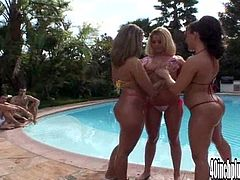 Get ready to have big ass fun by the triple in this hardcore scene where this lucky bastard has a foursome with three horny ladies by the pool.