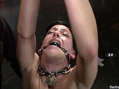 Brunette girl gets undressed, gagged and tied up. After that the guy fixes clothespins to her pussy lips. Later on she gets her pussy stuffed with a dildo.