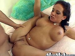 Amazing brunette chick strips her clothes off and massages her hot boobs. After that she gets oiled up and face fucked. In addition she takes big dick in her ass.
