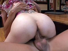 Skanky Japanese chic makes out with two horny dudes right in the eyes of other men. She rides one of them in cowgirl style while her mouth is busy giving a head in steamy MMF sex video by Jav HD.