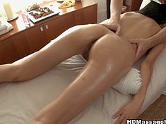 This hot asian cutie went for a normal massage, but after a while her tight pussy was stuffed by the masseur and his stiff fat cock!