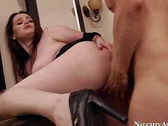 Chubby and pale arousing babe Tessa Lane enjoys in getting her shaved slit rammed hard on the shelf in the bathroom and enjoys in hardcore sex with Danny Wylde