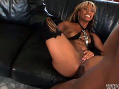WCP Club sex clip presents a really voracious blond ebony gal. This chick in high boots thirsts for anal fuck. Emotional hooker jams her tits while black stud polishes her asshole from behind right on the leather couch.