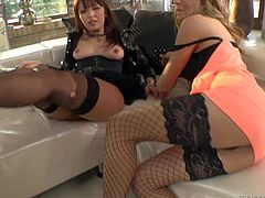 Marica Hase and Leyla Black are two dirty porn babes that have sex fun with Omar Galanti. Blonde gets her ass licked and exotic brunette teases man with her sexy feet with her black stockings on.
