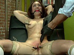 Beautiful brown-haired chick Gabriella Paltrova is getting naughty with some man in a cellar. She allows the dude to bind her and then gets her awesome assholes stunningly toyed.