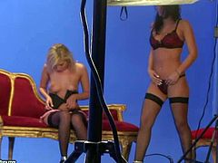 Sandra Shine, Lily Love and Lucy Belle show off their sinfully sexy bodies on the set. This behind the scenes video features adult models posing for the camera and showing their naughty parts.