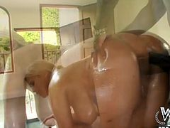 He fucks her tight pussy in doggy pose at first and then she spreads her legs wide open, showing how bad she wants him to fuck in missionary position.
