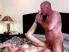 Experienced fucker Mark Davis with stiff dick and shaved head fucks hard heavy chested cheating blonde milf Julia Ann and Vanessa Cage on by one all over the bedroom.