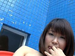 Horn made Japanese hussy demonstrates her charms in front of cam before she sits on chair to finger her bearded vagina and tickle it with vibrator.