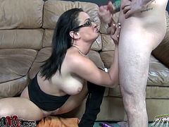 Take a look at this rough hardcore video where a dick thirsty brunette takes a pounding from a large dick until she's covered by cum as she ends up masturbating with a vibrator.