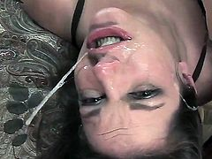 Pretty brunette babe Bobbi Starr with long hair gets get face fucked rough by black bull with rock hard monster cock in arousing kinky action filmed in close up.
