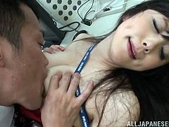 Superb Japanese office chick takes her skirt off and then gets her hot tits licked. After that she lies down on the floor and gets fucked in her hairy pussy.