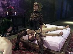 Two guys are at this babe's mercy in this femdom threesome with lots of strapon action and pegging included.