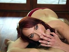 Redhead Nicki Hunter gives wet blowjob