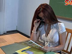 Watch this hot busty redhead teacher sucks her naughty students big cock and rides his hot cock in classroom.You will love this horny milf in stocking sucking and fucking on big cock like that.