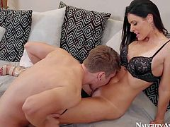 Dark haired housewife India Summer enjoys in seducing her neighbor Danny Wylde and sucks his hard rod on her knees in the bedroom, pleasing him and getting pleased at the same time