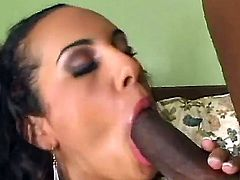 Ebony fellow has wild pounding with naughty white chick Victoria Allure. She sucks his giant black tool before getting it so deep inside of her luscious snatch.