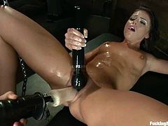 The kinky and sexy brunette Adriana Chechik is going to have a blast getting her pussy fucked by different machines in this clip.