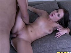Slutty bitch fondles her pussy and licks nipples. After that she lies down on the sofa and gets fucked hard. She also gets her face covered with cum.