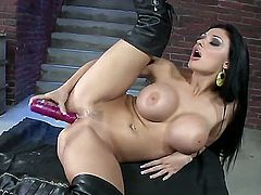 Aletta Ocean with gigantic jugs gives a closeup view of her wet hole as she masturbates