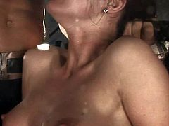 Young and slutty brunette hottie with petite body and shaved taco gets al tied up and tortured good by Nacho Vidal and Rocco Siffredi in the basement on the chair