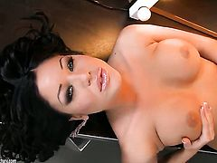 Angelica Heart with huge breasts makes her sexual fantasies come true in solo scene