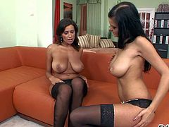 Sensual Jane and her gorgeous friend Candy Alexa in lingerie enjoy in playing with each others shaved beaver in front of the camera in the studio and have fun