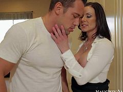 Kendra Lust enjoys in getting her hands all over her new friend Johnny Castle and enjoys in sucking his hard bazooka on knees in the office on the floor