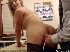 Gorgeous and lusty blonde secretary Abbey Brooks enjoy in getting her shaved slit licked and rammed hard by her new client Bill Bailey in her office on the desk and enjoys