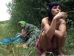 Shabby Russian mature is trying to aroused a weak dick of her hubby by rubbing it intensively with her hand. Later a sizzling brunette slut joins them to help her by giving him a blowjob in sultry FFM sex video by Pack of Porn.