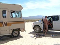 Sexy bodied Aleksa Nicole and a horny guy are alone in the middle of the desert. She sucks his dick in the sun and then gets her pussy boned from behind in a bus. Watch them fuck like rabbits.